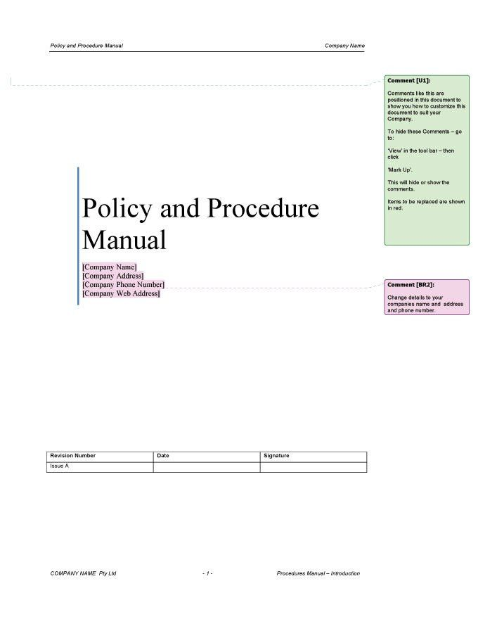 Procedure Manual Template | Improve Your Business Today