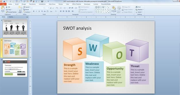 Free SWOT PowerPoint Template with Human Silhouette - Free ...