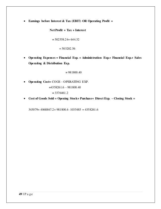 Project report on Financial Statement Analysis and interpretation of …