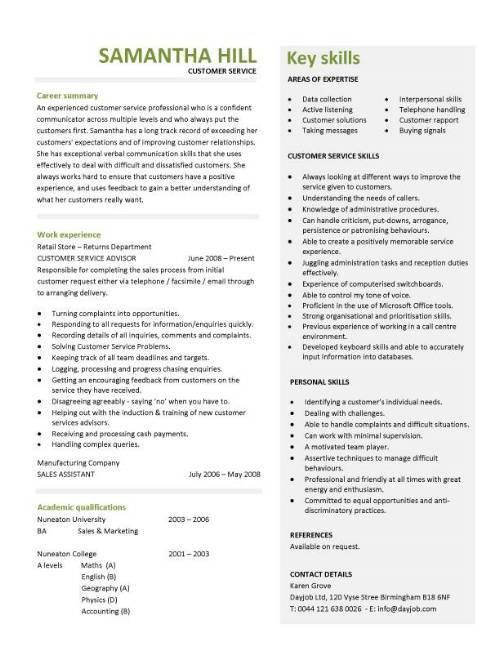 Sample Customer Service Resume - Resume Example