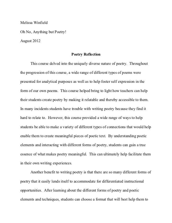format of reflective essay
