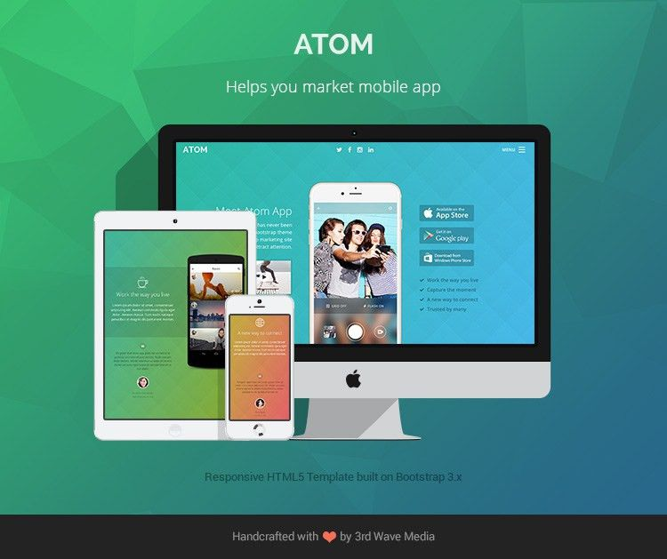 Responsive Bootstrap Theme for Mobile Apps - Atom