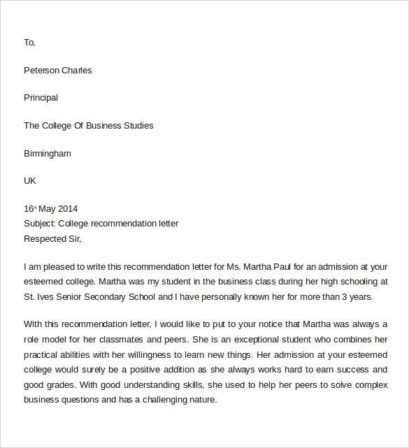 Sample Letter of Recommendation for College - 10+ Download ...
