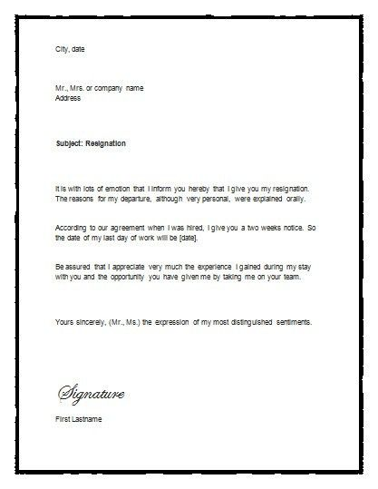Resignation Letter Template Word | gplusnick