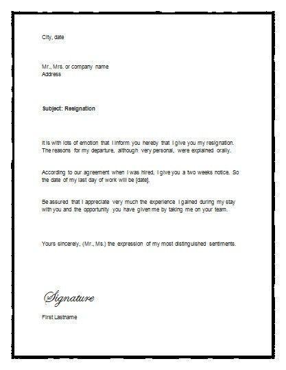 Resignation Letter Format: resignation letter microsoft template ...