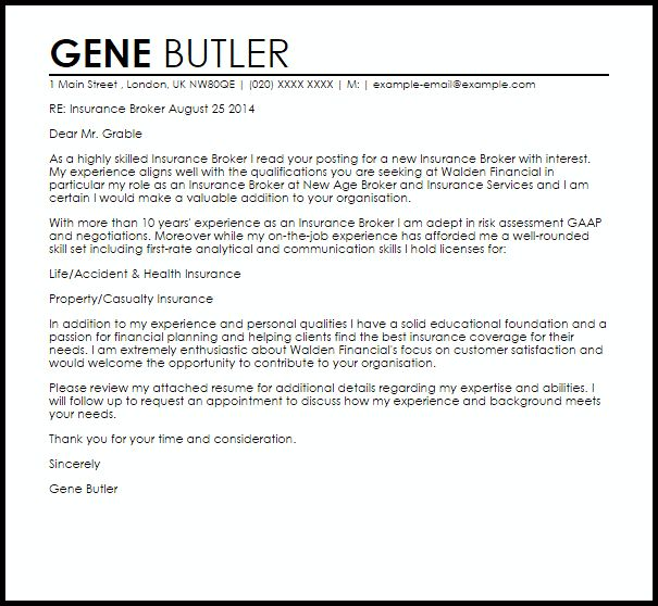 Insurance Broker Cover Letter Sample gene butler | RecentResumes.com