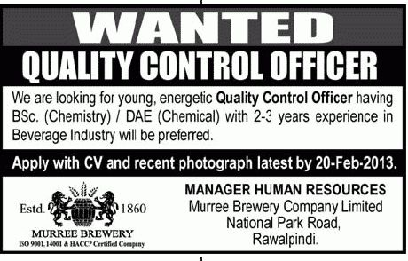 Quality Control Officer Job at Murree Brewery Company Limited 2013 ...