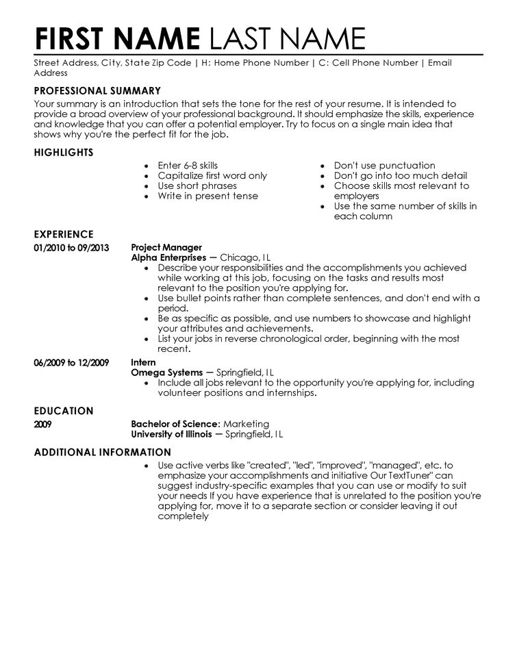 Sample Resume Template 10 Sample Resume Template Chronological ...