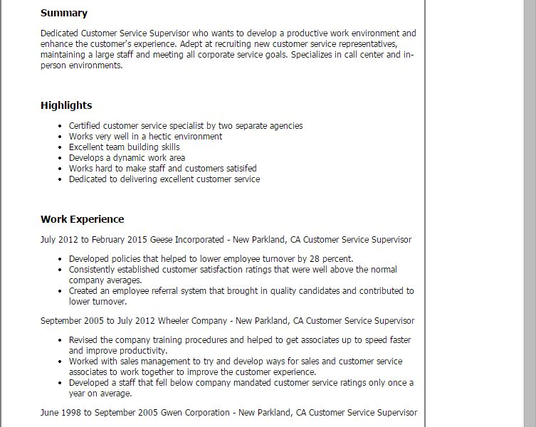 Grand Customer Service Supervisor Resume 2 Professional Customer ...