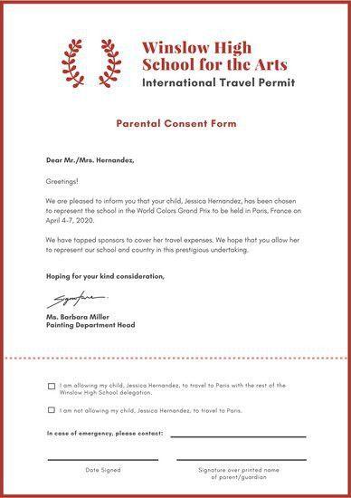 Maroon Laurel Travel Permission Slip - Templates by Canva