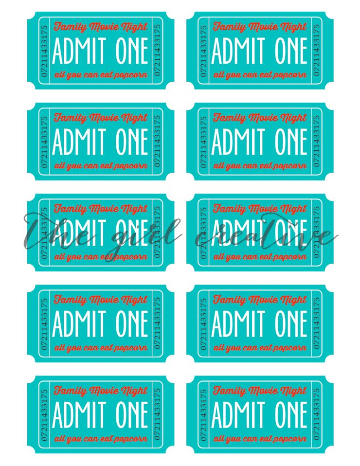 Family Movie Night with Printable Tickets - The Girl Creative