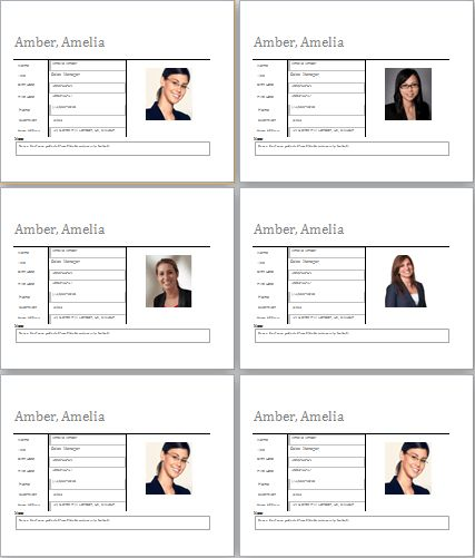 Editable Employee Profile Template for MS WORD | Document Hub