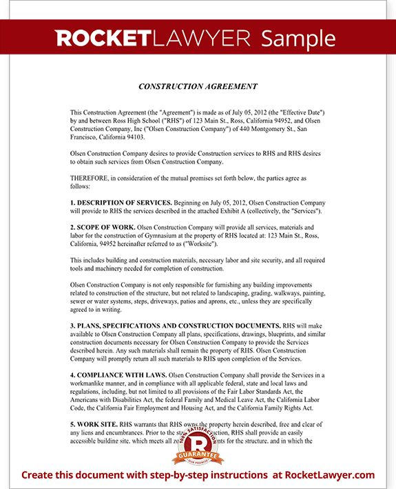 Construction Contract Template - Construction Agreement Form