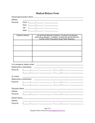 Use This Medical Release Form to Protect Your Kids in an Emergency ...