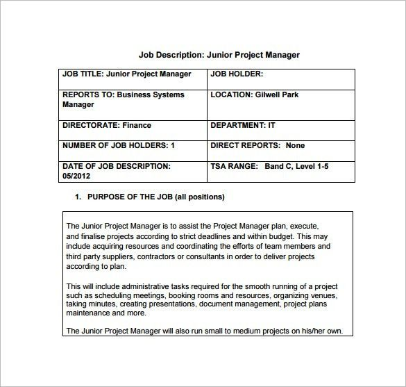 Project Manager Job Description Template - 10+ Free Word, PDF ...