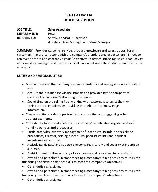 Sample Sales Associate Job Description   9+ Examples In PDF, Word