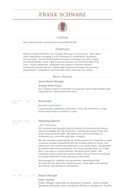 Social Media Manager Resume samples - VisualCV resume samples database