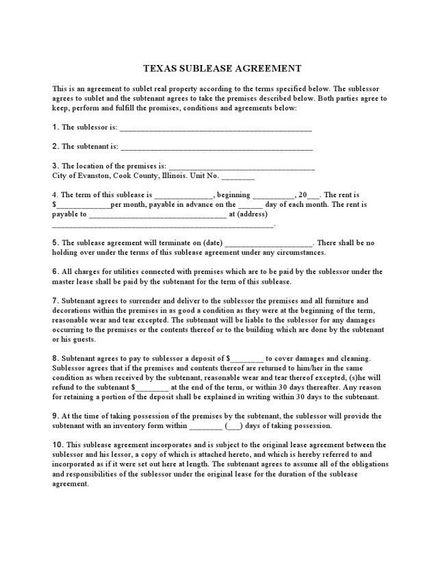 Efficient Texas Sublease Agreement Form Template Sample with 10 ...