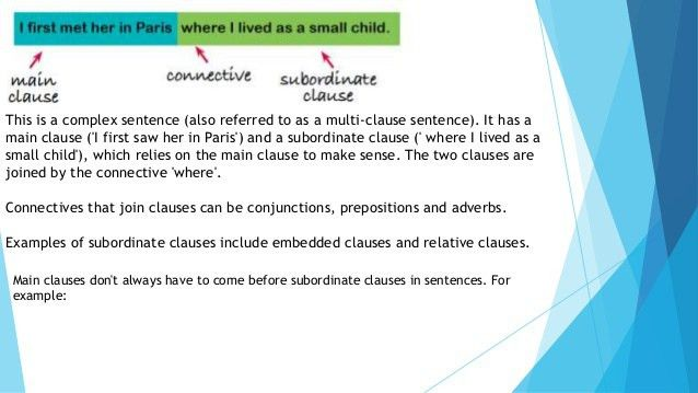 main & subordinate clauses