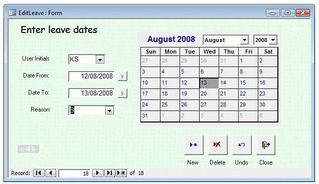 An Access database office leave planner