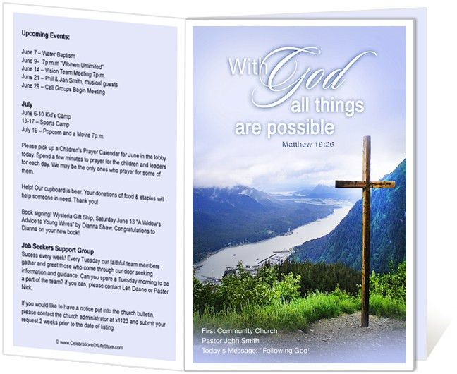 Church Bulletin Templates : Mountain With God All Things Are ...