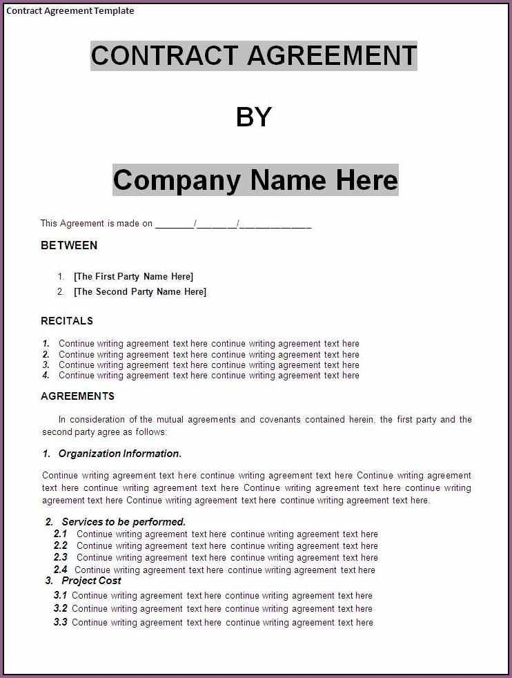 BUSINESS CONTRACT TEMPLATE | Designproposalexample.com