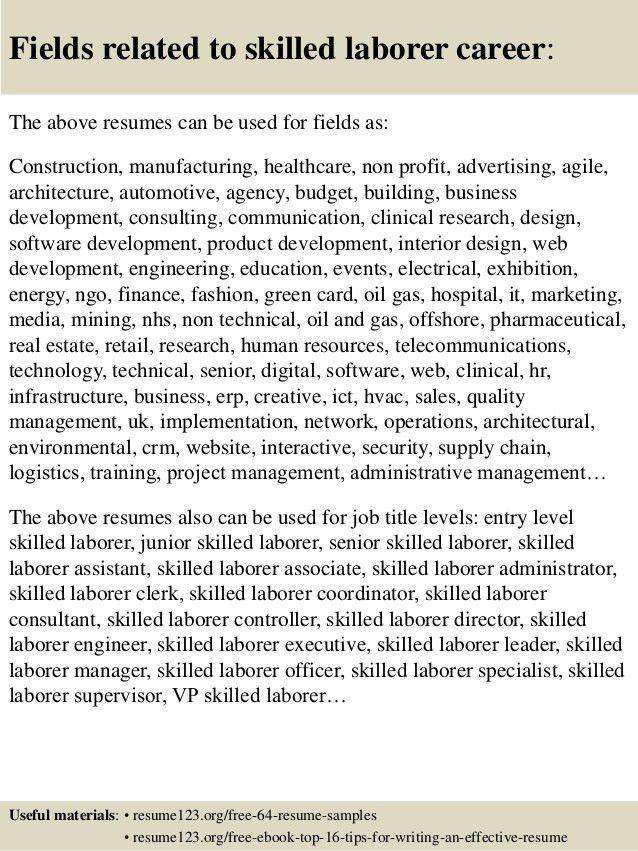 Top 8 skilled laborer resume samples