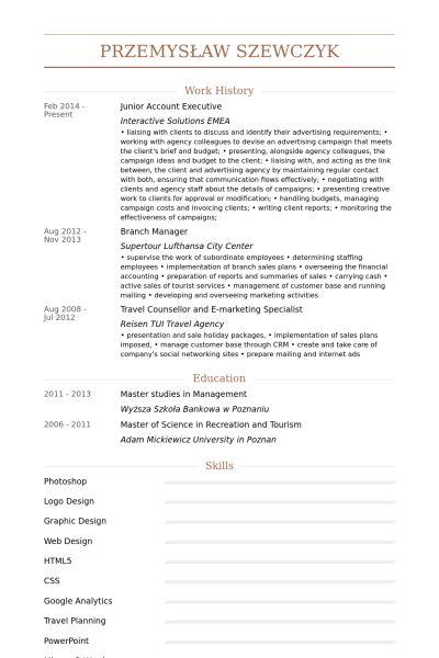 Junior Account Executive CV Örneği - VisualCV Özgeçmiş Örnekleri ...