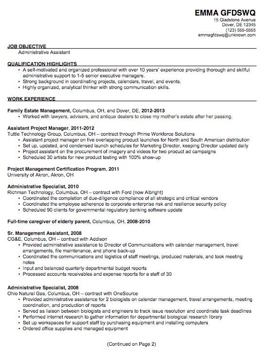 Sample Resume Format For Administrative Assistant - Gallery ...