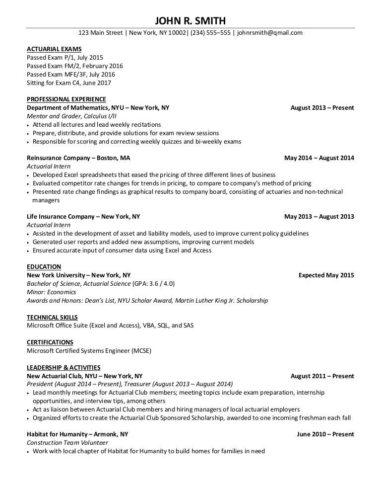 sample actuary resume resume resume example actuarial resume