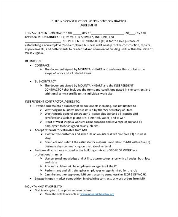 Sample Construction Contractor Agreement - 7+ Documents in PDF, Word