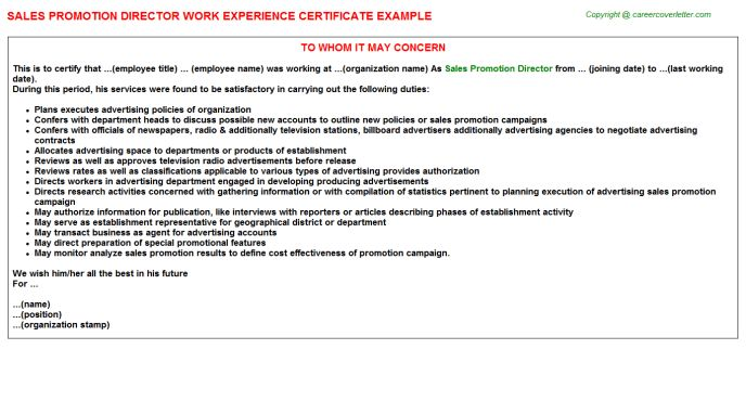 Sales Promotion Representative Work Experience Letters