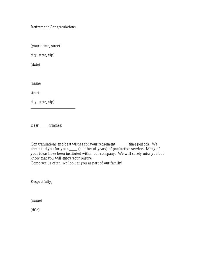 Retirement Congratulations Letter Template - Hashdoc