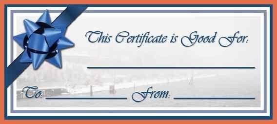 Blank Voucher Template. Gift Voucher / Gift Certificate Blue Bow ...