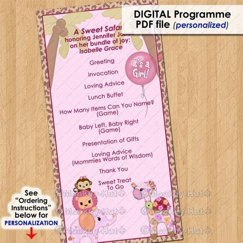Sweet Safari Party Event Programme / program girls baby shower