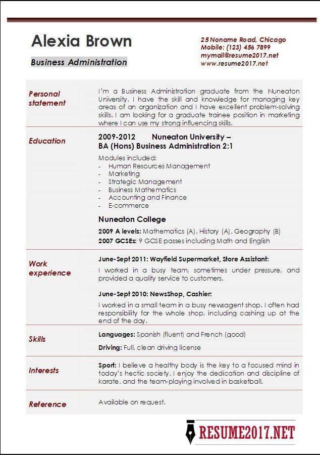 Business Administration Resume Examples 2017 •
