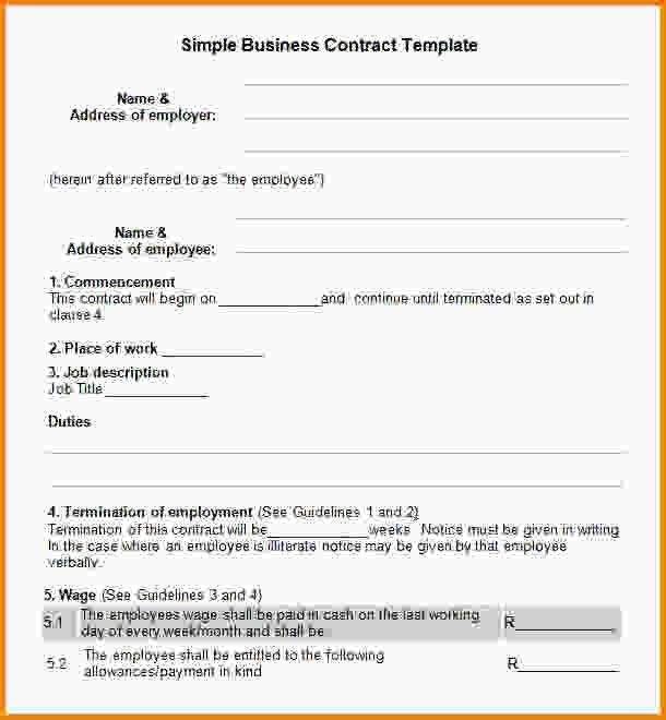 Simple Contract Template. Interesting Agreement Format Example ...