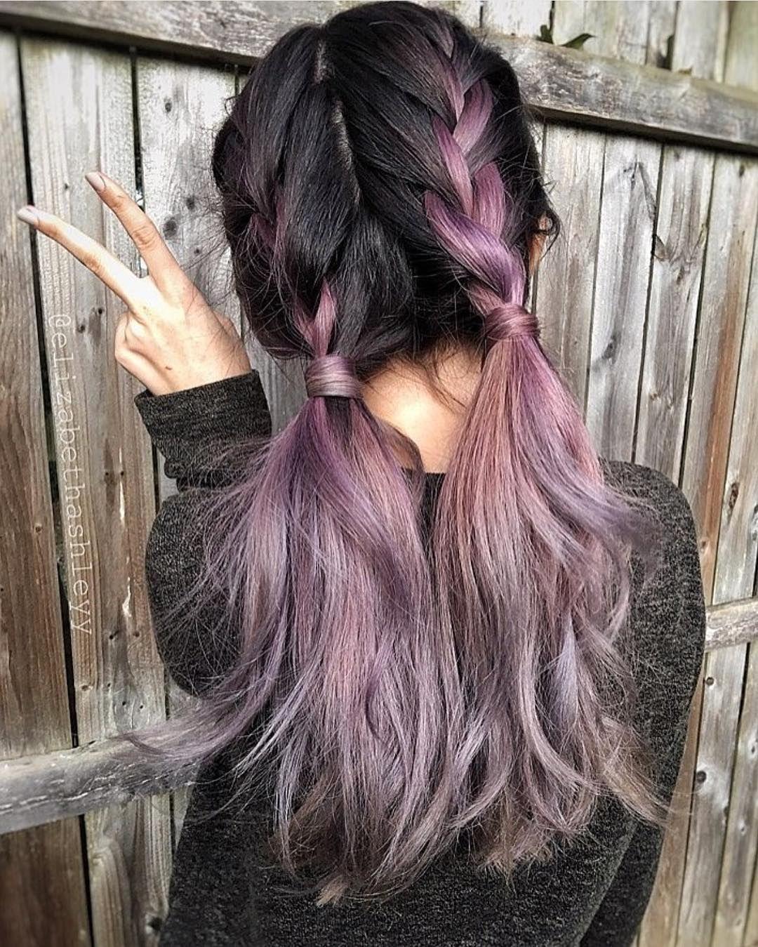 "Hot on Beauty on Instagram: ""Metallic mauve hair color by @bescene Cute country girl braids by @elizabethashleyy #hotonbeauty #hothairvids"""