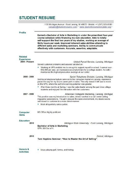sample resume for newly graduated student resume writing examples ...