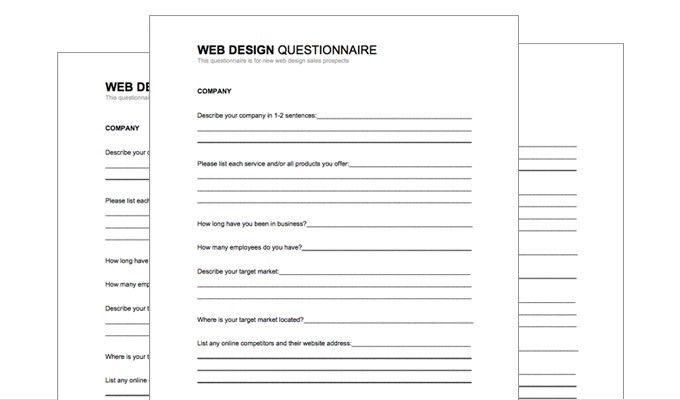 Free Web Design Client Questionnaire