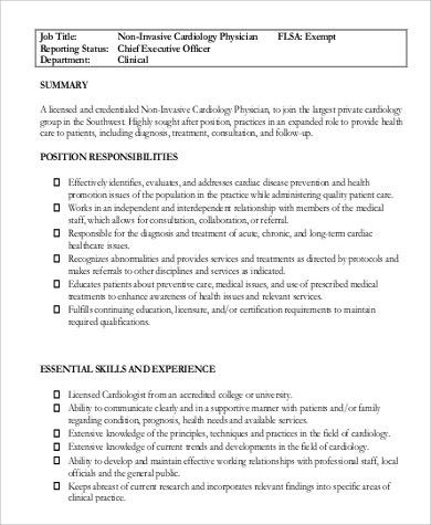 Sample Cardiologist Job Description - 6+ Examples in PDF