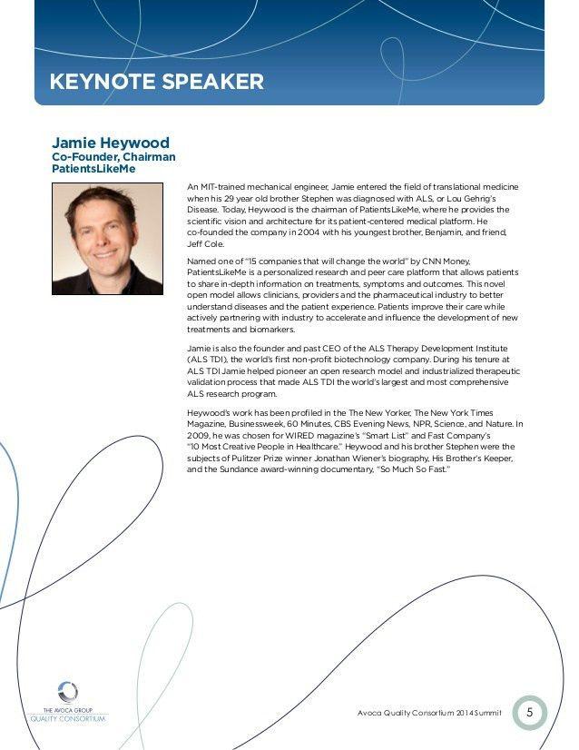 Avoca Quality Consortium 2014 Summit Bio Booklet