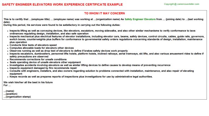 Environmental Health Safety Engineer Cover Letter