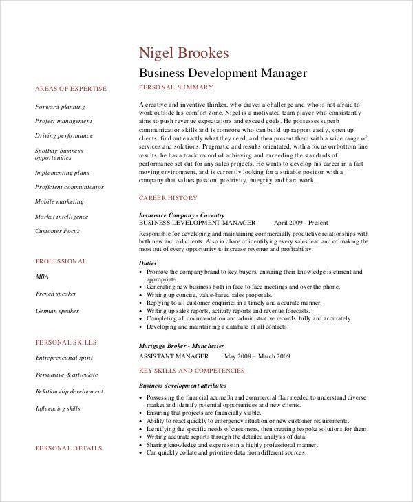 6+ Business Resumes - Free Sample, Example, Format   Free ...