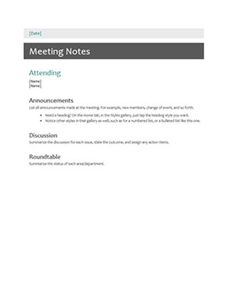 Meeting minutes - Office Templates