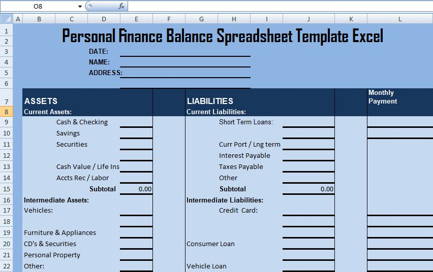 Personal Finance Balance Spreadsheet Template Excel - Excel ...