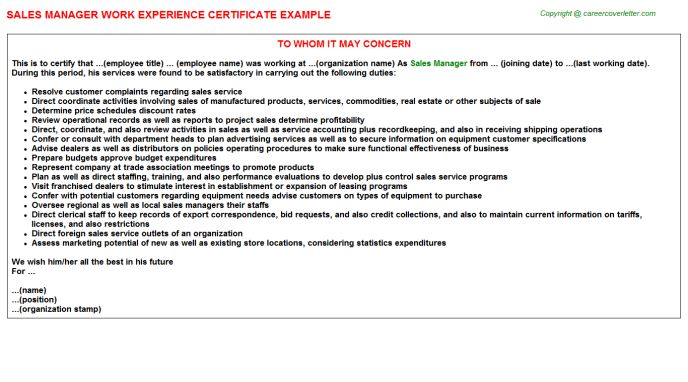 Sales Manager Work Experience Certificate