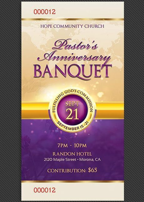 Clergy Anniversary Banquet Ticket Template | Ticket template ...