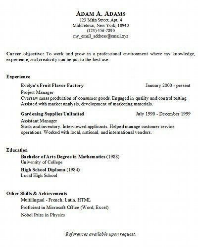 Basic Sample Resume Format. Basic Resume Format ...