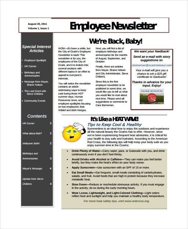 Sample Employee Newsletter Template - 9+ Free Documents Download ...